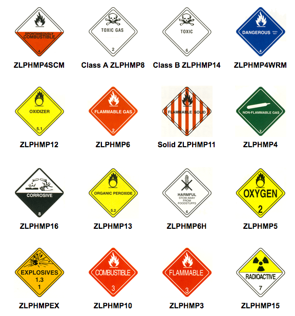 D O T Warning Placards For Hazardous Materials