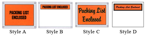 packing list envelope printing styles