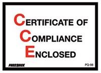 Certificate of Compliance Envelopes