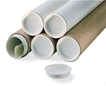 White Mailing Tubes with End Caps - 2 x 15