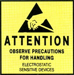 Anti Static Pressure Sensitive Warning Labels - Attention MIL STD 129N (ZSWLA44)