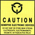 Anti Static Pressure Sensitive Warning Labels - Caution Static Sensitive (ZSWLC22)