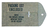 Military Specification Packing List Envelopes