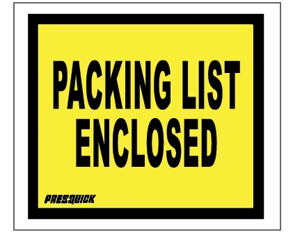 "Packing List Envelopes - Full Face Yellow Printed Packing List Enclosed - 4 1/2"" x 5 1/2"" - (ZPQ10YBL)"