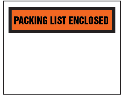 "Packing List Envelope - Partial Printed Face Clear Window Packing List Enclosed - 4 1/2"" x 5 1/2""  (ZPQ12BL)"