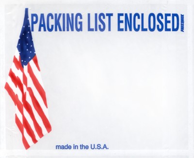 "Packing List Envelope - Patriotic American Flag Printed Packing List Enclosed Packing List Envelope - 7"" x 5 1/2"" (ZPQUSA19BL)"