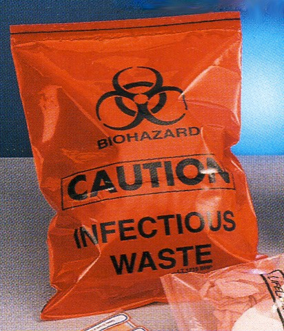 "12 x 15"" Red Biohazard Zipper Resealable Medical Infectious Waste bags (ZLTR1215)"