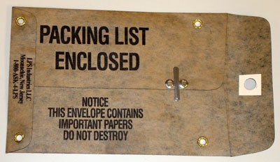 "Mil Spec Water Resistant Oiled Kraft Paper Packing List Envelopes Printed Packing List Enclosed With Metal Eyelest- 4 1/4"" x 5 3/4"" (ZMILA45)"