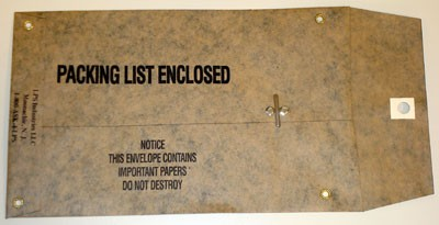 "Mil Spec Water Resistant Oiled Kraft Paper Packing List Envelopes Printed Packing List Enclosed With Metal Eyelest- 6"" x 9"" (ZMILA69)"